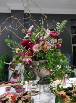 A photograph of the floral centre piece which sat high above the table.
