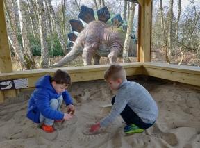 Fossil digging team work