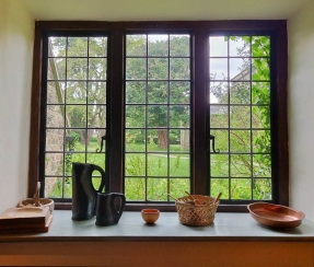 Kitchen window overlooking St Mary's Church garden